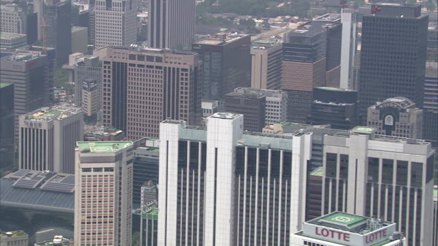 AERIAL View of the skyscrapers at Jong-no downtown district