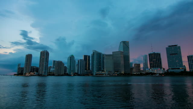 WS T/L View of thunderstorm over downtown Miami at sunset / Miami, Florida, United States
