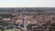 WS AERIAL View of Tiber river with St Peter Basilica and Castle of Saint Angelo / Rome, Italy