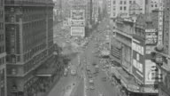 WS View of Time Square in New York city Pedestrian and vehicle traffic on the street below
