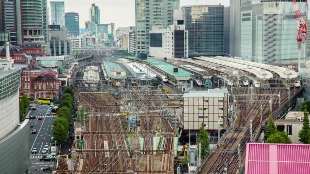 WS T/L View of Tokyo station train traffic / Tokyo, Japan