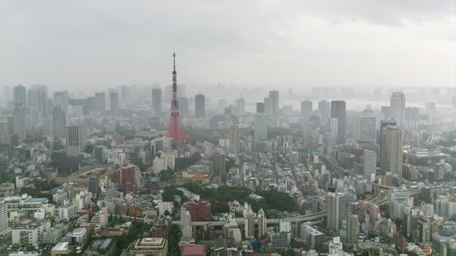 WS T/L View of Tokyo tower and Tokyo bay before upcoming typhoon / Tokyo, Japan