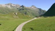WS AERIAL View of Top of Lukmanier Pass and Lake Sontga Maria / Lukmanier pass road, Ticino, Switzerland