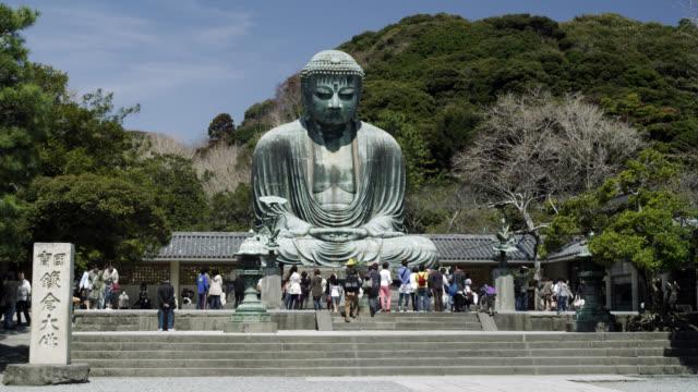 WS View of tourist at Daibutsu-great Buddha of Kotokuin temple  / Kamakura, Kanagawa, Japan