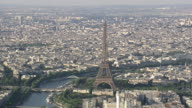 WS AERIAL TS ZO View of tourist at top part of Eiffel Tower in city / Paris, France