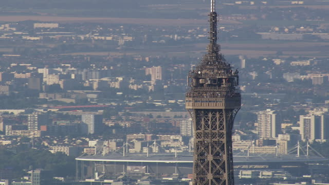 Ms Aerial Ds View Of Tourist At Top Part Of Eiffel Tower Paris France Stock F