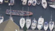 WS AERIAL View of tourist boat in Christianhavns canal / Copenhagen, Denmark