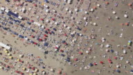 MS AERIAL DS ZO View of tourist enjoying on Beach at Blankenberge / Flanders, Belgium
