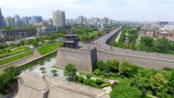 AERIAL View of Tourist on city wall/ Xi'an, Shaanxi, China