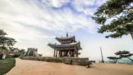 WS T/L POV DS View of tourist roaming at Suwon Seojangdae castle (Unesco World Heritage) / Suwon, Gyeonggi do, South Korea
