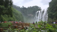 WS View of tourists enjoying view at Huangguoshu Falls (largest falls in Asia) / Anshun, guizhou, China