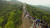WS T/L View of Tourists walking on Great Wall at Badaling / Beijing, China