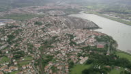 WS AERIAL View of town and harbor / Basque Country, France