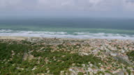 WS AERIAL View of town and sea coast, La Rochelle / Poitou Charentes, France