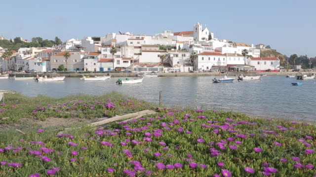 View of Town and Spring Flowers on Beach, Ferragudo, Algarve, Portugal, Europe