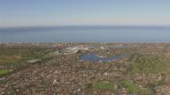 WS AERIAL ZI View of town and stadium / Adelaide, South Australia, Australia