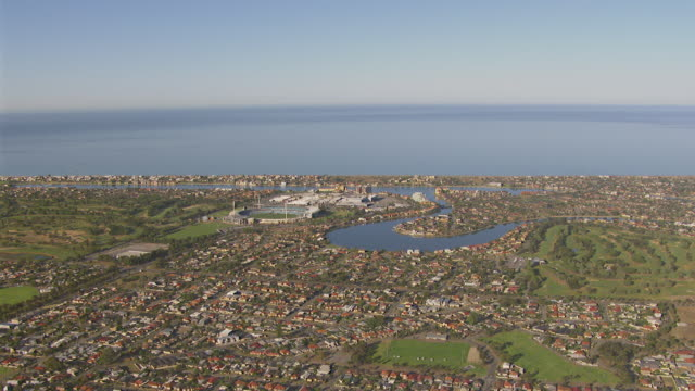 WS AERIAL ZI View of town and stadium / Adelaide, South Australia, Australia