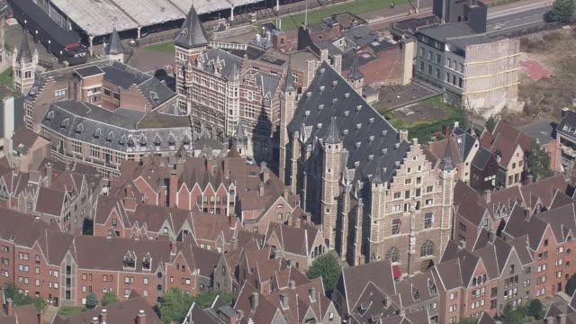 WS AERIAL ZI ZO PAN View of town hall in city / Flemish Region, Belgium
