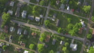 WS AERIAL POV View of town / Louisa County, Iowa, United States
