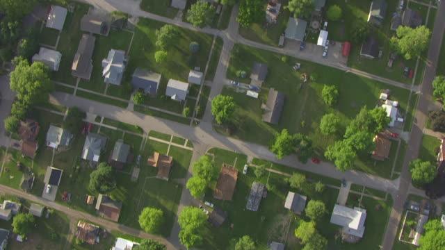 WS AERIAL POV View of town / Louisa County, Iowa, United States