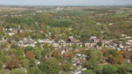 WS AERIAL View of town / Mineral Point, Wisconsin, United States