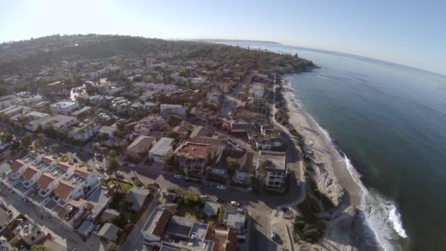 WS AERIAL View of town near windandsea beach la jolla / San Diego, California, United States