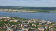 WS ZI AERIAL POV View of Townhouse and Potomac River / Alexandria, Virginia, United States