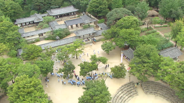 WS ZI DS AERIAL  View of tradtional folk village and samulnori playing / Yongin, Gyeonggi-do, South Korea