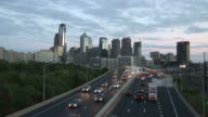 View of traffic at magic hour in Philadelphia United States