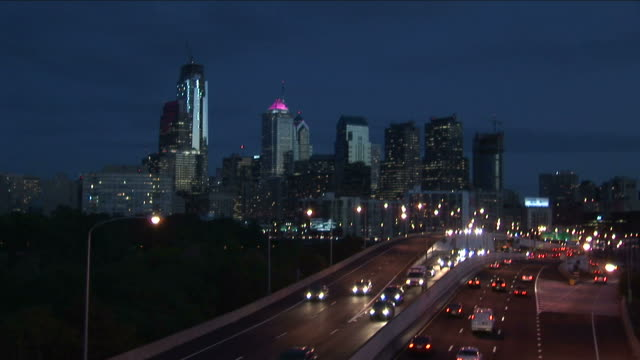 View of traffic at night in Philadelphia United States