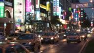 View of traffic at night in Taipei Taiwan