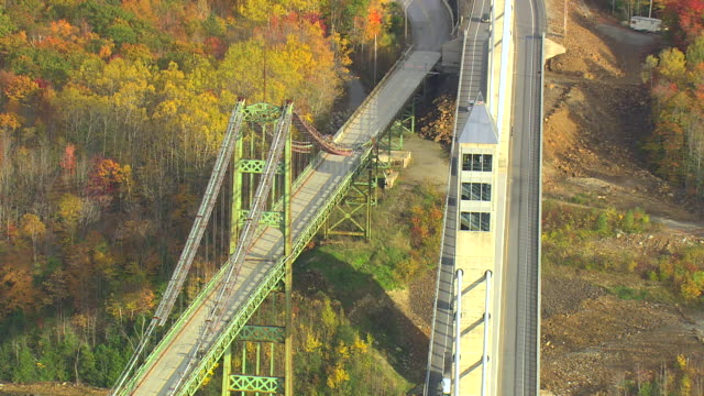 MS AERIAL View of traffic moving over Penobscot Narrows Bridge / Maine, United States