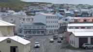 MS View of traffic moving through downtown reykjavik / Porvaldseyri, Sudhurland, Iceland