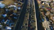 WS POV AERIAL View of traffic on I-25 in Denver suburbs / Denver, Colorado, USA