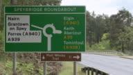 MS View of traffic sign board / Cromdale, Speyside, Scotland