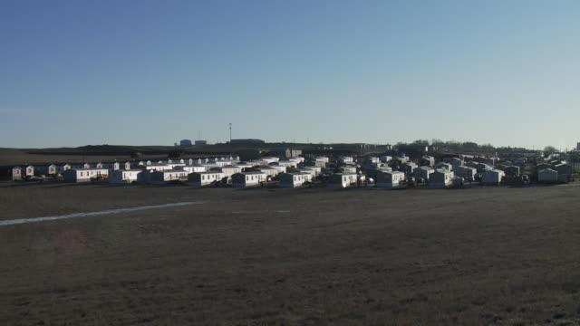 View of trailer park outside of Williston, North Dakota.
