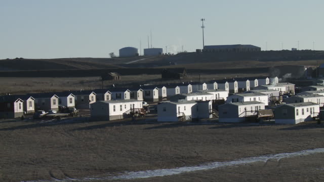 View of trailer park with housing for oil field workers outside of Williston, North Dakota.