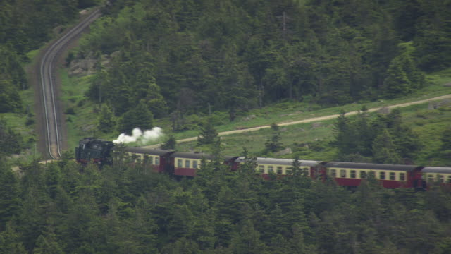 WS AERIAL View of train is running at Brocken / Germany