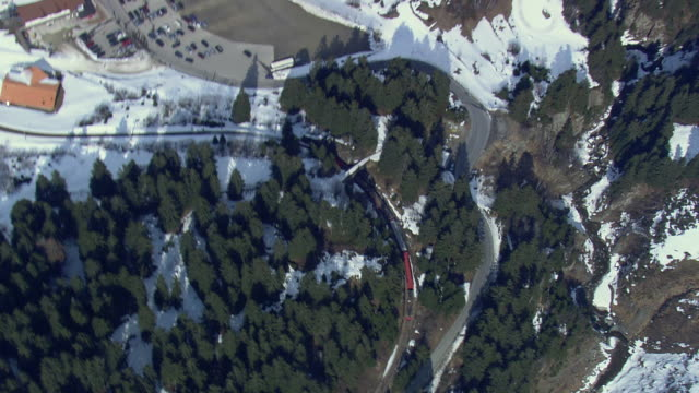 WS AERIAL View of Train moving in between forest / Switzerland