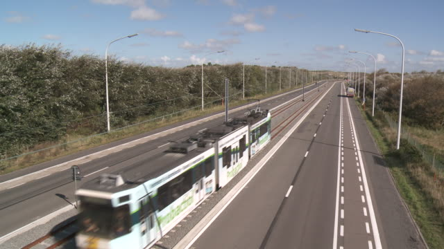 WS View of tram line of the coast / Ostend, Flanders, Belgium