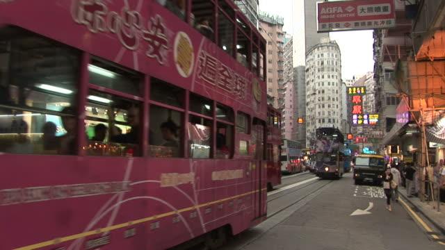 View of tram transportation in Hong Kong China
