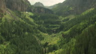 MS ZI AERIAL View of tree covered basin with stream / Telluride, Colorado, United States