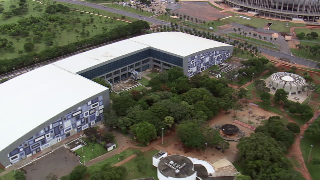 WS AERIAL View of trees and building / Brasilia, Brazil