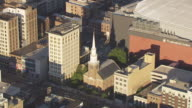 MS AERIAL ZO View of Trinity and St Philips Cathedral and First Presbyterian Church / Newark, New Jersey, United States