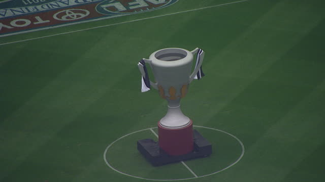 WS AERIAL ZI ZO View of trophy in AFL stadium / Deniliquin, New South Wales, Australia