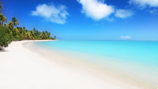 WS T/L View of Tropical island / Aitutaki, Cook Islands