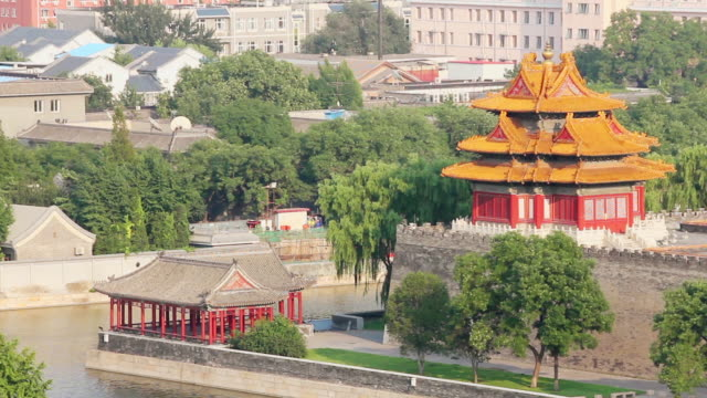 WS View of turret of forbidden city and moat / Beijing, China