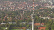 MS AERIAL DS ZO View of TV Tower and city / Stuttgart, Baden Wurttemberg