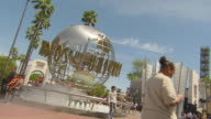 WS View of Universal Studio Entrance with Globe Statue / Los Angeles, California, United States