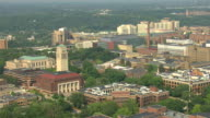 WS AERIAL View of University of Michigan campus buildings / Ann Arbor, Michigan, United States
